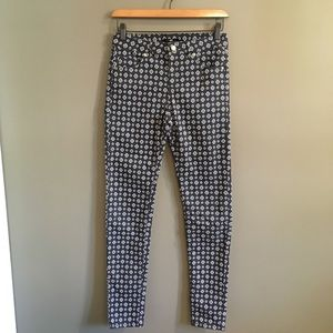 H&M Modern Print Skinny Jeans Gold Details Size 6